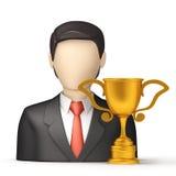 Bedrijfsmensen met trofee Stock Afbeeldingen