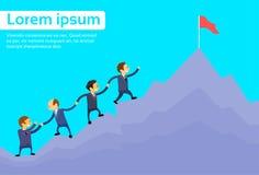 Bedrijfsmensen Team Climbing Top Peak stock illustratie