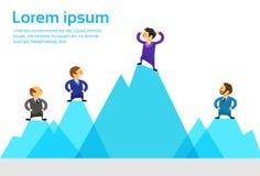Bedrijfsmensen Team Standing Top Peak van Hoogte stock illustratie