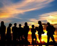 Bedrijfsmensen Team Twilight Cityscape Concept stock fotografie