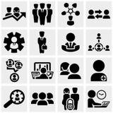 Bedrijfsmensen vectordiepictogrammen op grijs worden geplaatst. Royalty-vrije Stock Fotografie