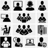 Bedrijfsmensen vectordiepictogrammen op grijs worden geplaatst. Stock Afbeelding