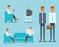 Bedrijfsmensenkarakter op het Dagelijkse leven Geschokte beeldverhaal chef- mens Stock Afbeeldingen