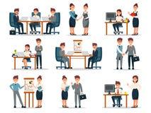 Bedrijfsmensenkarakters bij het werkreeks, mannetje en vrouwelijke werknemers bij werkplaats in de vectorillustraties van het bur Royalty-vrije Stock Afbeelding