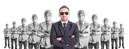 Bedrijfsmensenleider van bouwers Stock Foto
