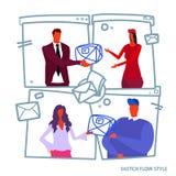 Bedrijfsmensenman het documentpakket van de vrouwen chef- gevend correspondentie aan mannetje van het de leverings het verschepen vector illustratie