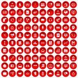100 bedrijfsmensenpictogrammen geplaatst rood Stock Foto