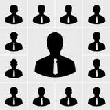 Bedrijfsmensenpictogrammen, Silhouettenmensen in kostuum Stock Foto's
