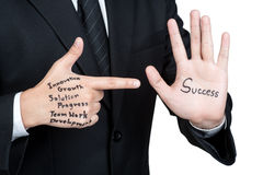 Bedrijfsmensentactiek voor geïsoleerd succes stock foto's