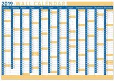 Bedrijfsmuurkalender 2019 met ruimte voor tekst en aantal weken royalty-vrije illustratie