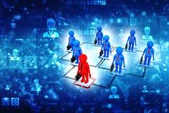 Bedrijfsnetwerkconcept, Leider, Leidingsconcept, Bedrijfsmededeling het 3d teruggeven royalty-vrije illustratie