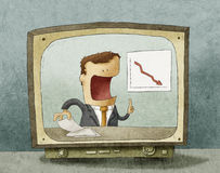 Bedrijfsnieuws op TV Royalty-vrije Stock Foto's