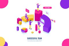 Bedrijfsonderwijs en advies, het werk van het succesteam, leider en leidings isometrisch concept, gegevensanalyse en royalty-vrije illustratie