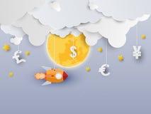 Bedrijfsontwerpconcepten met raketten en wolken Royalty-vrije Stock Foto
