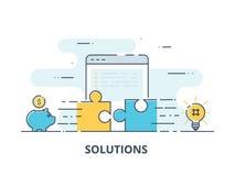 Bedrijfsoplossingen, succes en strategieconcept De verbindende puzzel van de zakenmanhand stock illustratie