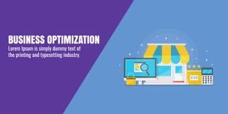 Bedrijfsoptimalisering, kleine bedrijfsseo, digitale strategie, Internet-marketing concept Vlakke ontwerp vectorillustratie stock illustratie