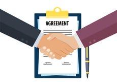 Bedrijfsovereenkomstenhanddruk stock illustratie