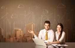 Bedrijfspaar met gebouwen en metingen Royalty-vrije Stock Fotografie