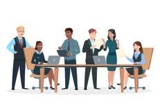 Bedrijfspersonen in bureau Vlakke karakters, het professionele mannen vrouwenwerk bij lijst en computers Succes Commercieel team stock illustratie