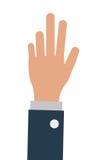 bedrijfspersoon één hand omhoog, isoalted illustratie royalty-vrije illustratie