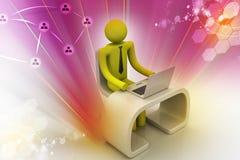 Bedrijfspersoon aan een bureau met laptop Stock Fotografie