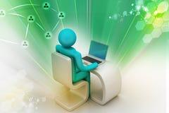 Bedrijfspersoon aan een bureau met laptop Stock Afbeeldingen