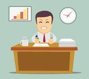 Bedrijfspersoon die in bureauuur werken Royalty-vrije Stock Afbeelding