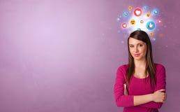Bedrijfspersoon die zich met sociaal media concept bevinden royalty-vrije stock afbeelding