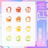 Bedrijfspictogram vastgestelde vector met negatief op kleurrijk concept Meubilairpictogram voor websiteelement, app, infographic  stock illustratie