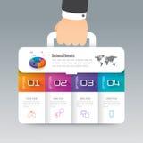 Bedrijfspictogrammen bedrijfs van het koffer de infographic ontwerp en Royalty-vrije Stock Foto's