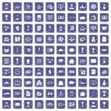 100 bedrijfspictogrammen geplaatst grunge saffier Stock Foto