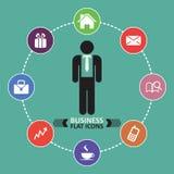 Bedrijfspictogrammen, menselijke hulpbron, financiën Stock Foto's