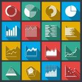 Bedrijfspictogrammen van classificatiesgrafieken en grafieken Stock Foto
