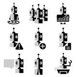 Bedrijfspictogrammen van robots dergelijke toekomst Stock Foto