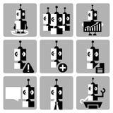 Bedrijfspictogrammen van robots dergelijke toekomst Stock Afbeeldingen