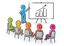 Bedrijfspresentatie: Spreker voor toeschouwers en het toenemen grafiekpictogram vector illustratie