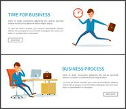 Bedrijfsproces, Zakenman Running uit Tijd royalty-vrije illustratie