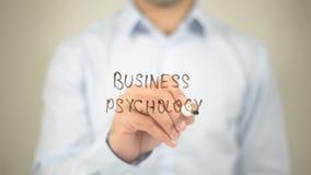 Bedrijfspsychologie, die op het transparante scherm schrijven royalty-vrije stock fotografie