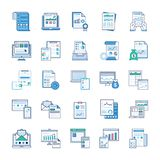 Bedrijfsrapporten, Statische Analyse, Financieel verslag, Vlakke Geplaatste Pictogrammen royalty-vrije illustratie