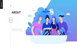 Bedrijfsreeks - over bedrijf, het malplaatje van het contactweb royalty-vrije illustratie