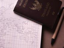 Bedrijfsreeks van het paspoort en de kaart van Thailand in het notitieboekje van de conceptenreis Stock Afbeeldingen