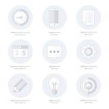 Bedrijfsreeks vlakke ontwerppictogrammen, Lijnpictogrammen Stock Foto's
