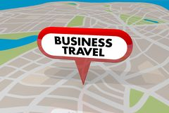 Bedrijfsreis Pin Map Words Worker Transportation 3d Illustrat Royalty-vrije Stock Foto's