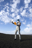 Bedrijfsreis van de Toekomst met Satelliettabletmededeling Royalty-vrije Stock Afbeeldingen