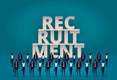bedrijfsrekruteringsconcept U-manager die nieuwe werknemer of arbeiders voor baan inhuren Het aanwerven van personeel of personee vector illustratie