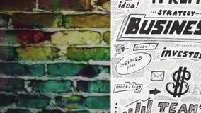 Bedrijfsschets tegen kleurenbakstenen stock footage