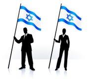 Bedrijfssilhouetten met golvende vlag van Israël Royalty-vrije Stock Afbeeldingen