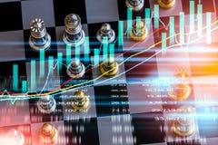 Bedrijfsspel op digitale financiële effectenbeurs en schaak backgr royalty-vrije stock afbeeldingen