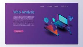 Bedrijfsstrategie en planning Gegevens en investeringen Bedrijfs succes Computermonitor met infographic elementen Ontwerp voor pr stock illustratie