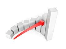 Bedrijfssuccesgrafiek met pijl op witte achtergrond Stock Foto